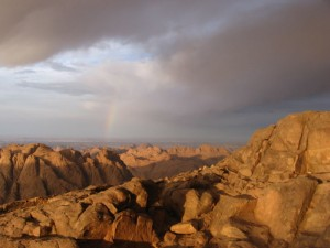 A rainbow over the Sinai. Photo via Wikimedia Commons, by Cirodite.