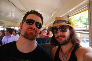 Jason and I on a chicken bus.