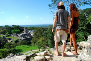 Karin and I looking down on the ruins of Palenque.