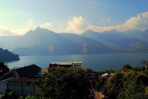 The view of Lago Atitlan and La Nariz del Indio from the roof of my house.