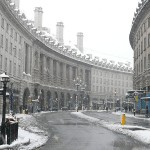 Snow on Regent Street in London. Photo via Wikimedia, by Jon Curnow