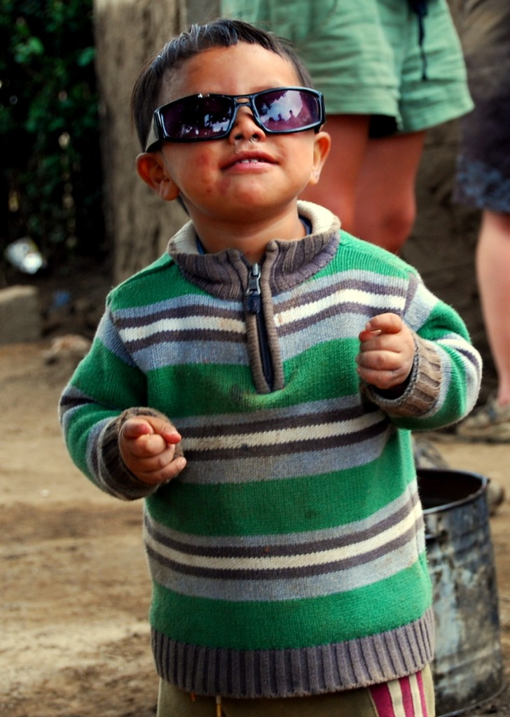 This little guy grabbed one of the volunteer's sunglasses and was having a lot of fun posing and dancing.
