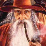 From the front cover of the novel Realms of Magic featuring Elminster, Wizard of the Coast.