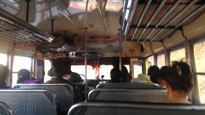 A half full chicken bus leaving Panajachel - comfortably and quiet. The calm before the storm.
