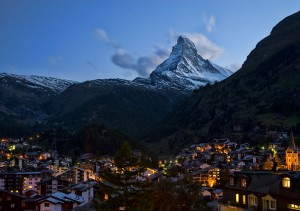 Zermatt Switzerland and the Matterhorn night. Photo via Wikimedia, by Chensiyuan.