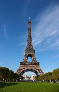 The Eiffel Tower, as seen from the champ de Mars in Paris. Photo via Wikimedia, by LeCardinal.