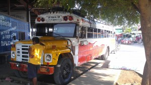 A Chicken Bus, headed to the backpacker beach town of San Juan del Sur.