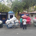 Goods being transported across the Penas Blancas border in carts.
