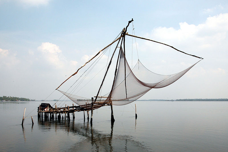 Fishing nets near Kochi in Kerala. (via Wikimedia)