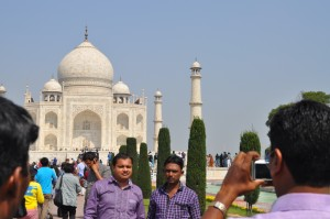 Indian tourists, posing for a photo.